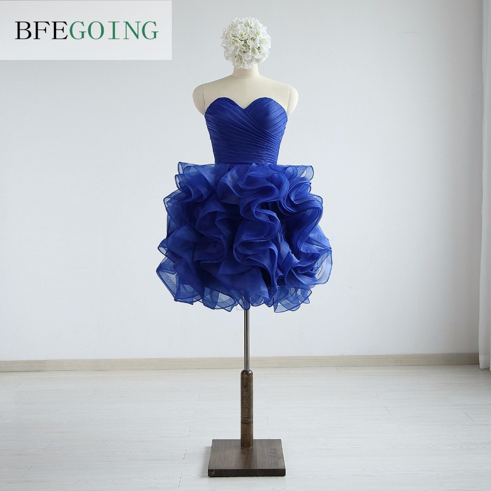 Organza Strapless Sweetheart Knee-Length A-line Party   Cocktail     Dresses   Lace up Real /Original Photos Custom made