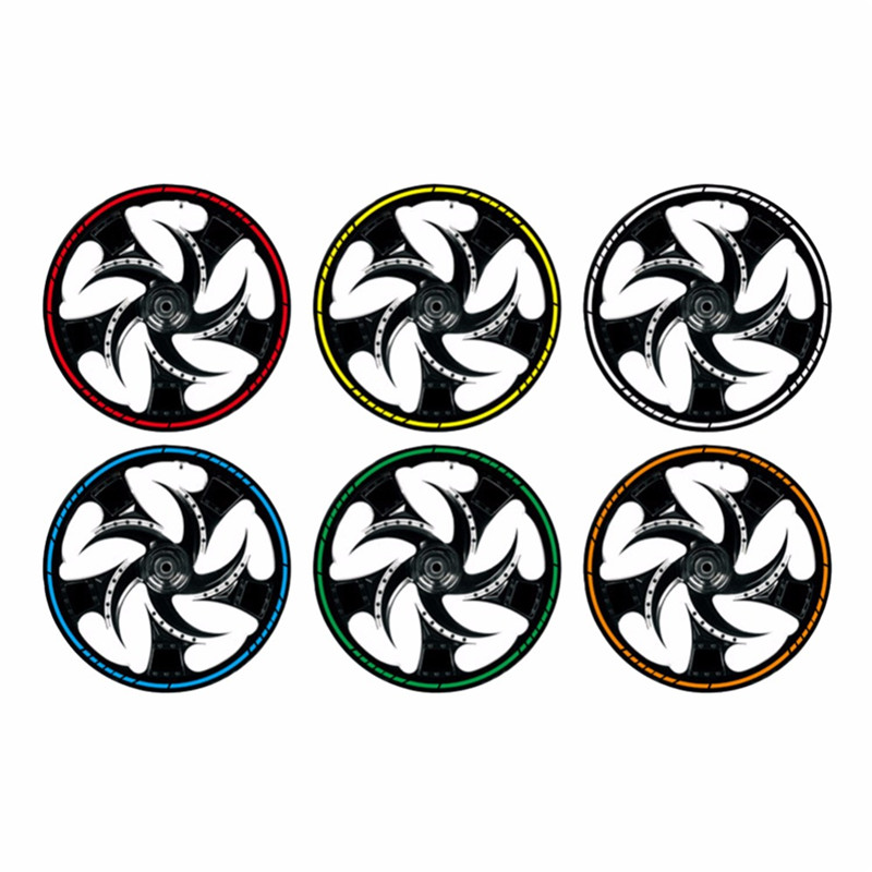 "16Pcs 18""  Strips Motorcycle Car Wheel Tire Stickers Reflective Rim Tape Motorbike Auto Decals #281304(China)"