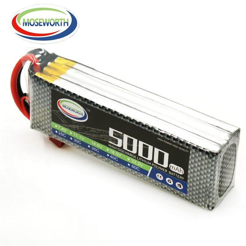 MOSEWORTH 4S RC Drone Lipo Battery 14.8v 5000mAh 25C For RC airplane helicopter batteria akku yllozure губная помада мируар мажик тон 14