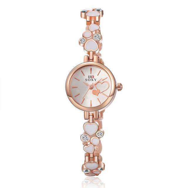 Women Bracelet Wrist Watch Rose Gold Female Girl Gift Alloy Quartz Watch reloj M