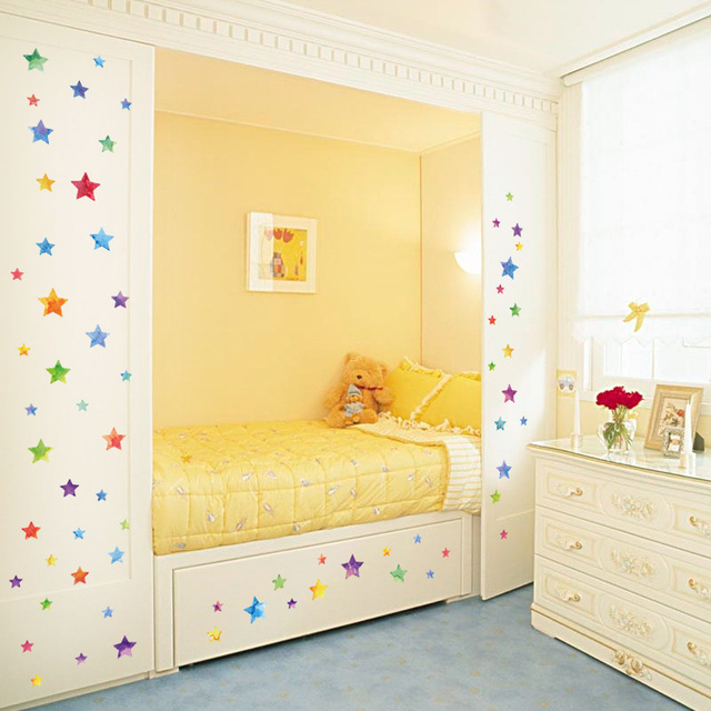 DIY Color Stars Wall Stickers Refrigerator Stickers Bedroom Cabinets Glass  Windows Kindergarten Layout Home Decoration Stickers