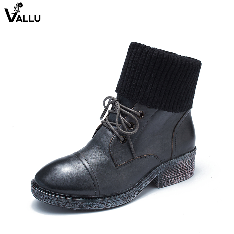 Women Mid-Calf Boots Shoes New Arrival VALLU Vintage Shoes Lace-Up Original Leather Female Chunky Heel Boots laconic women s mid calf boots with lace up and chunky heel design
