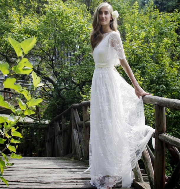 Bohemian Romantic Style Wedding Dresses 2016 Lace Bride Dress Short Sleeve Boho Chic Beach Western Country