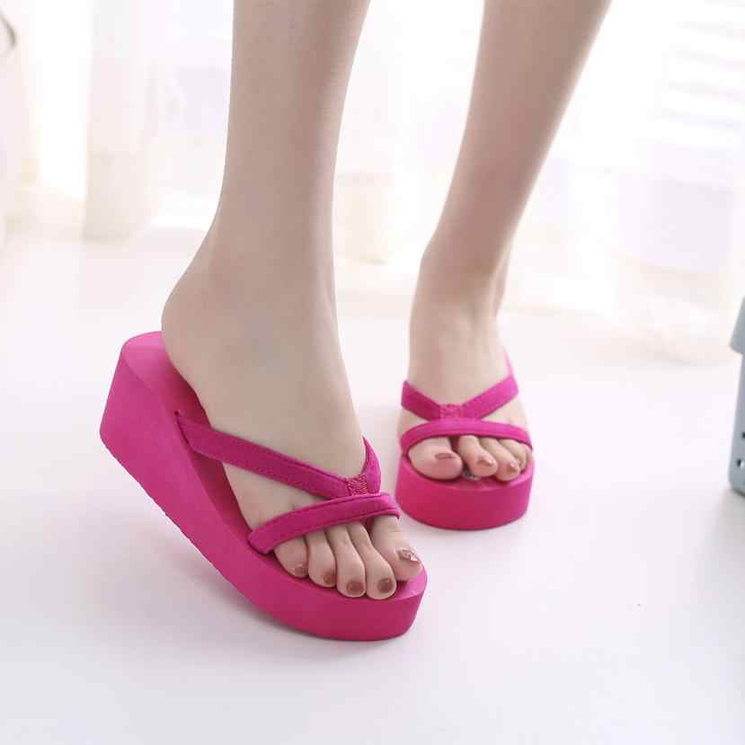 a8a43ce73281 ... large size Women s Comfortable Summer Soft Wedge Sandals Fashion  Slipper Flip Flops Beach Wedge Thick Sole