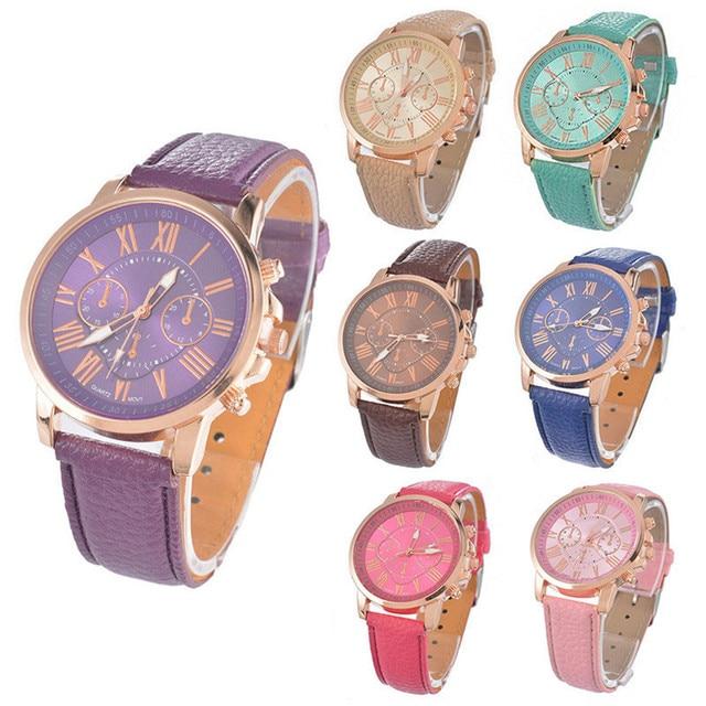 FUNIQUE Wrist Watches Women Girl Roman Numerals Quartz Watches Clock Leather Ban