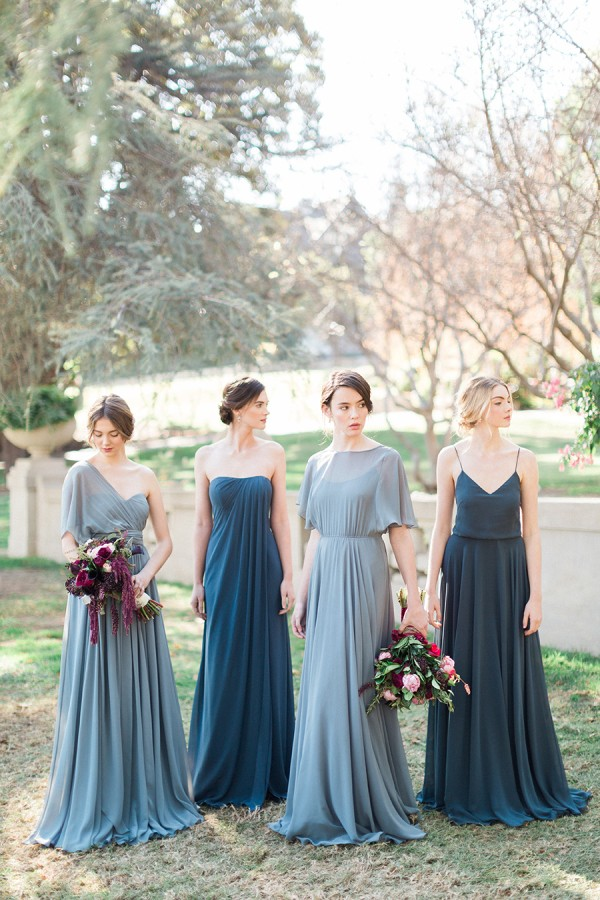 2016 Summer Newest Navy Blue Sheath Boho Beach Bridesmaid Dresses Y Spaghetti Straps V Neck Long Chiffon Wedding Party Gowns In From