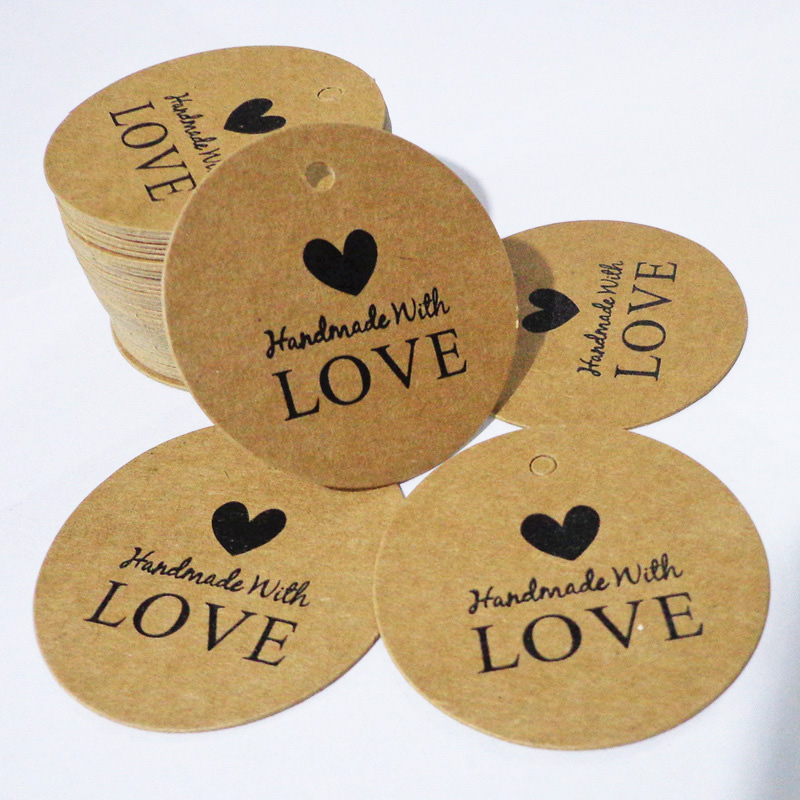 Craft Paper Tags /'HANDMADE WITH LOVE BY/' Hand Made Gift Tag 5x3cm