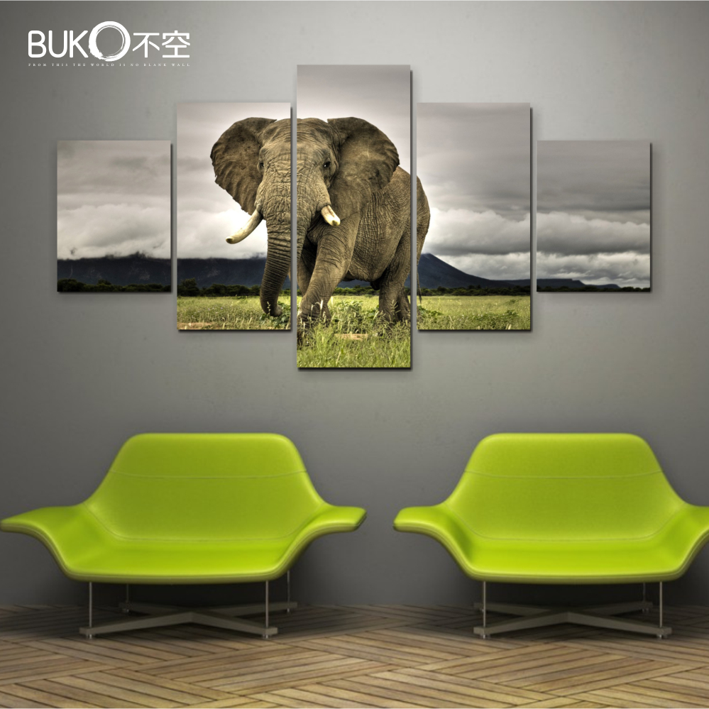 5pcs canvas painting pictures high quality hd cheap price African elephant home decor