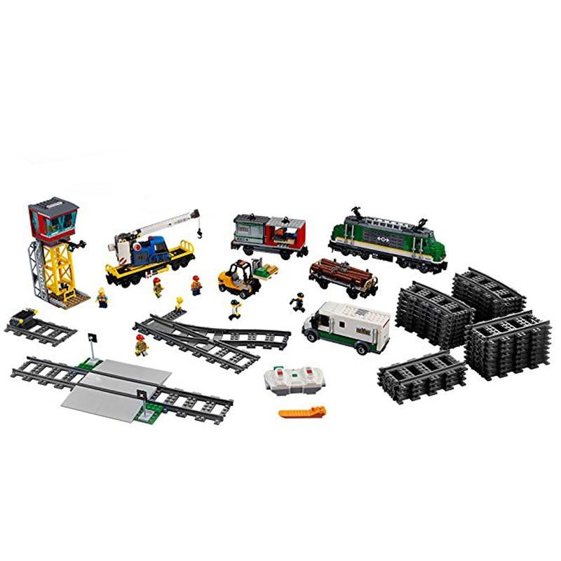 купить 1373pcs City Figure Cargo Train Set Model Building Kits Blocks Bricks Toy For Children Gifts Compatible Legoings 60198 Toys по цене 5983.78 рублей
