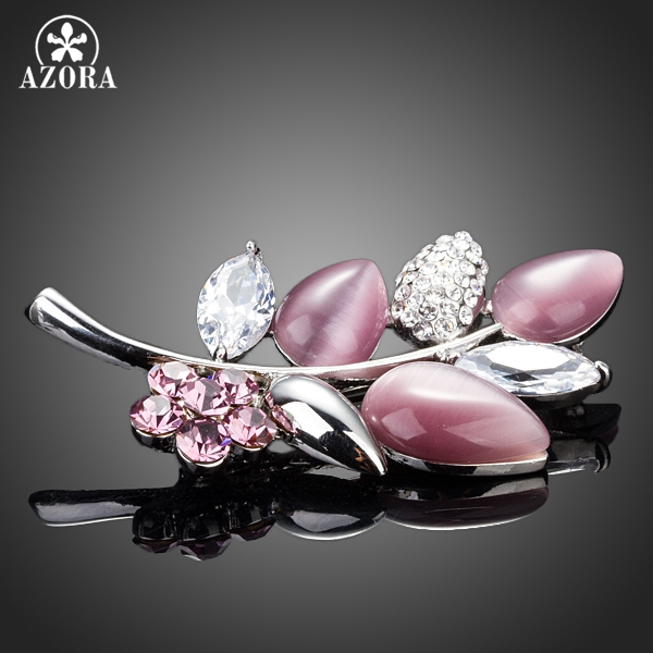 AZORA Lastest Design High Quality With Clear Cubic Zirconia Leaf Pin Brooch TP0015