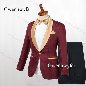 Image 2 - Gwenhwyfar Chaqueta de solapa dorada para hombre, esmoquin negro, trajes de 2 piezas, traje de Jacquard, esmoquin, para trajes de hombre para bodas (chaqueta + pantalones), 2019
