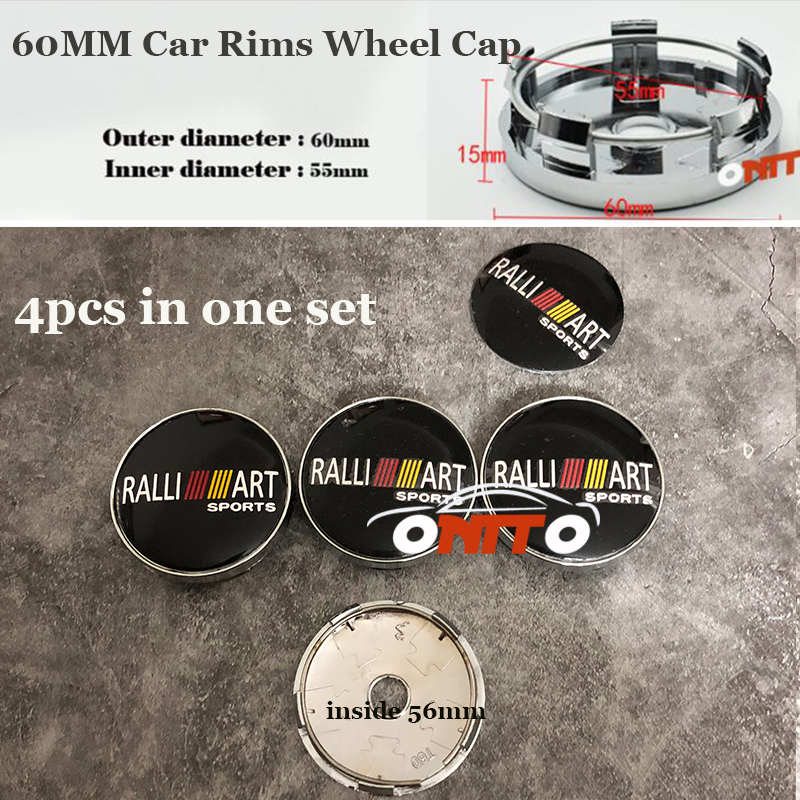 4pcs 60MM Chrome Logo Badge Car Wheel hub Caps for Ralliart Lancer 10 9 EX Eclipse Galant outlander Auto Wheel Covers Label