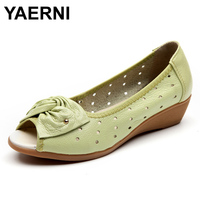 YAERNI New Women Shoes Genuine Leather Sandals Wedges Platform Sandals Woman Peep Toe Ladies Loafers Chaussure