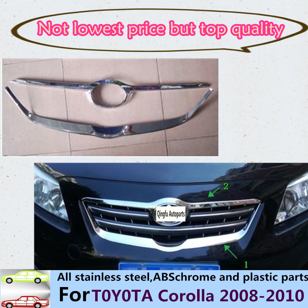 Car cover abs chrome front engine racing grill machine grille upper hood stick trim panel lamp 2pcs for toyota corolla 2008 2010