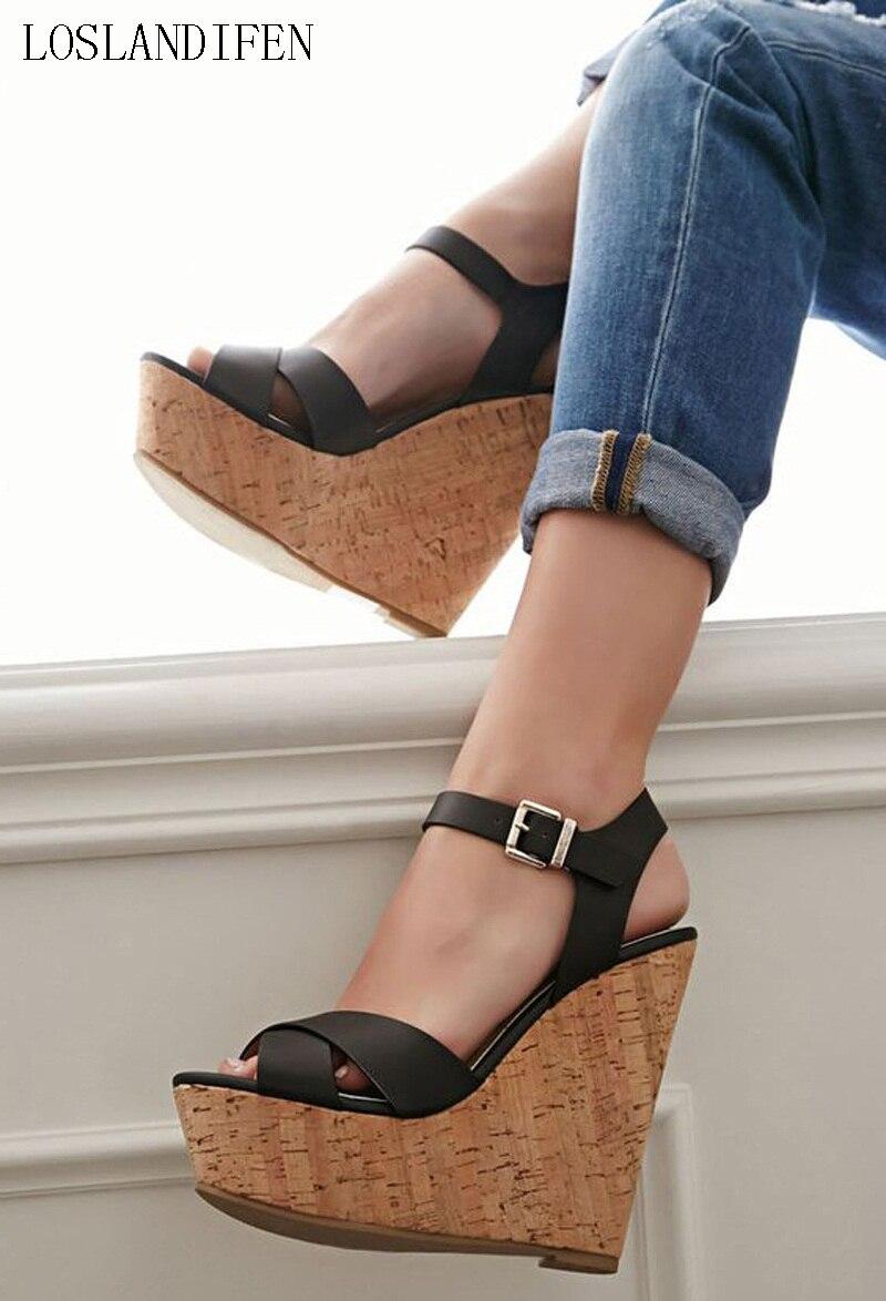 Ladies New Hot Sale Design Handmade Wadge Heel Sandals Peep-toe Slingback Buckle Strap Summer Party Date Fashion Shoes A071 leisure women s peep toe shoes with slingback and chunky heel design