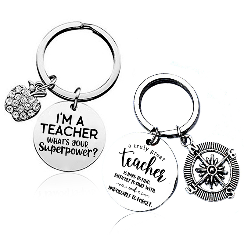 Teacher Keychains A Truly Great Teacher Is Hard To Find Pendant Keyring Jewelry For Teachers Day Gift