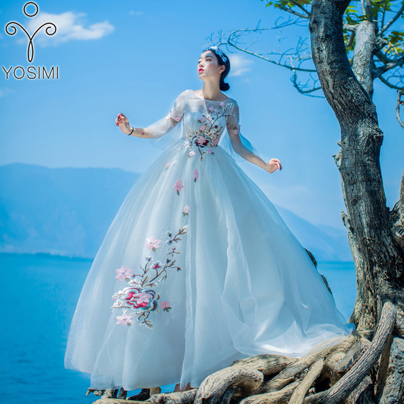 a32c1ced2c YOSIMI 2018 Summer Dress Maxi Elegant Voile Floral Embroidery Long Women  Dress Fairy Tunic Dress Evening Party Ball Gown O-Neck