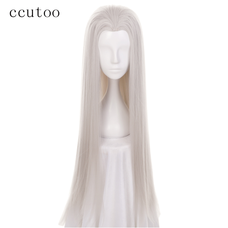Ccutoo Beauty Tips 100cm Silver Grey Long Straight Synthetic Hair Ancient Maple Widow's Peak Cosplay Wig Heat Resistance Fiber