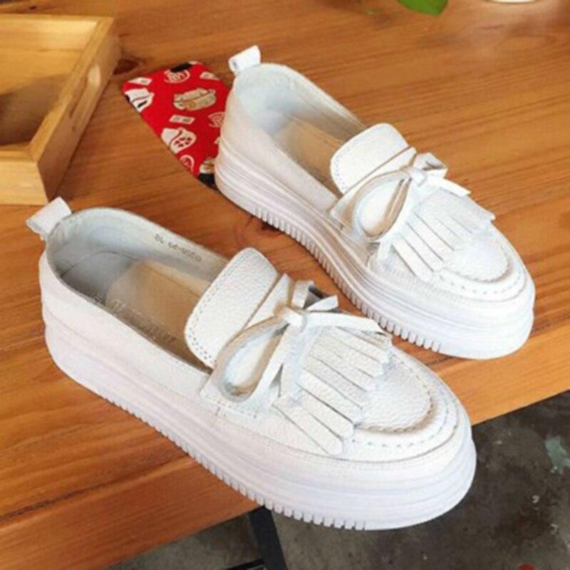 Toile Femmes cravate Arc Pearl Petit Gland white Clouté Chaussures Véritable Cuir Tassel En Style Perle Mocassins Deux White Blanc vpFqxRPw
