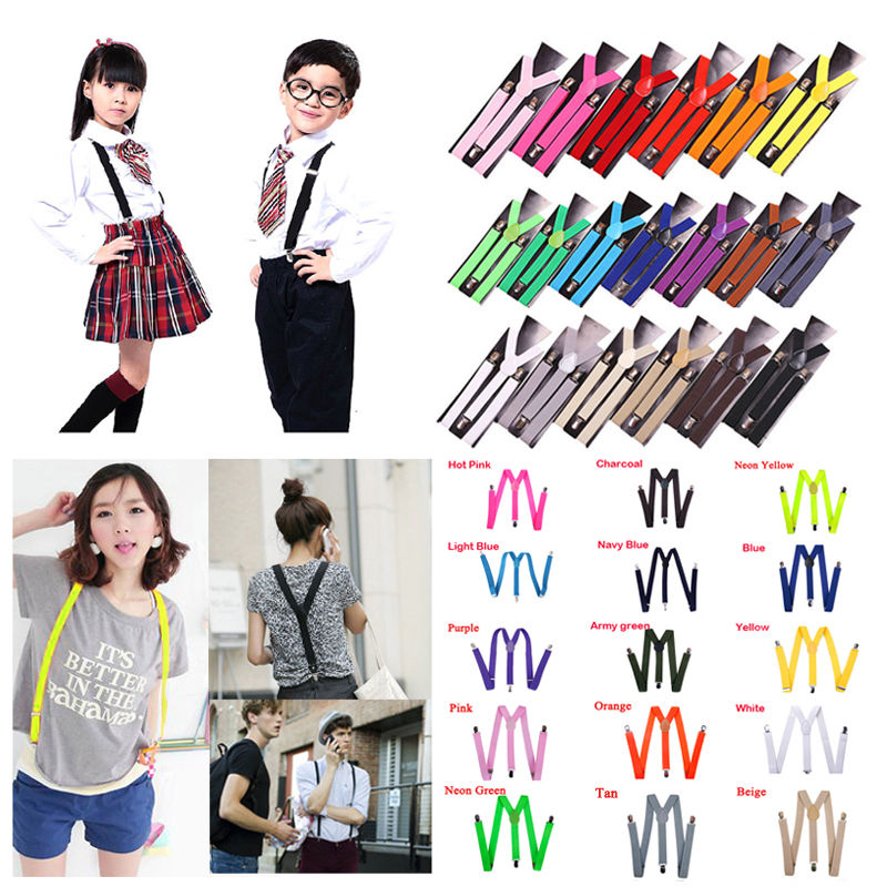 15 Colors Unisex Men Women Child Kids Clip-on Suspenders Elastic Y-Shape Adjustable Braces Women Suspender For Wedding For Skirt