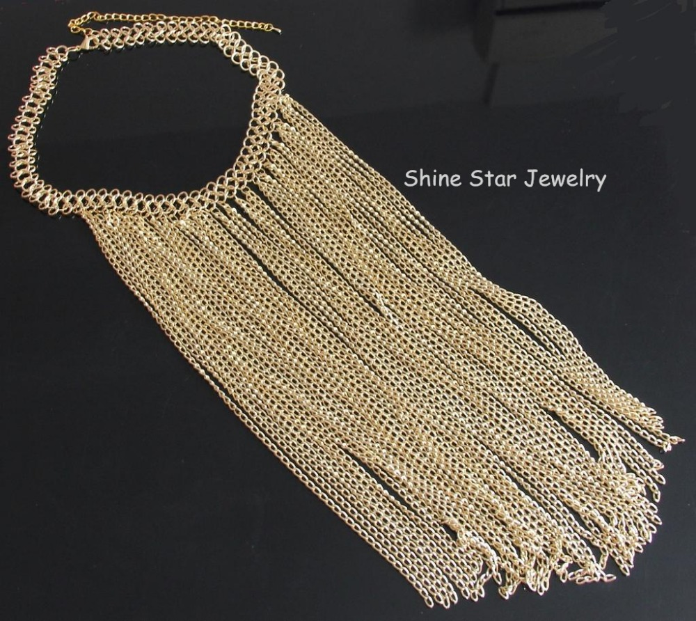 Women Chocker Gold Color Chain Tassel Star Choker Pendants Collar Necklace