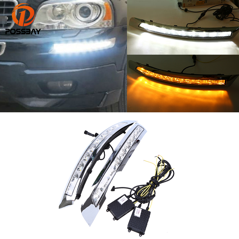 POSSBAY Car DRL LED Running Lights for Volvo XC90 2007-2013 Car White Yellow Turn Signal Light Daylight Auto Fog Lamps icoco 3 led waterproof car light universal daytime running lights dc12v super white auto car fog lamps car styling