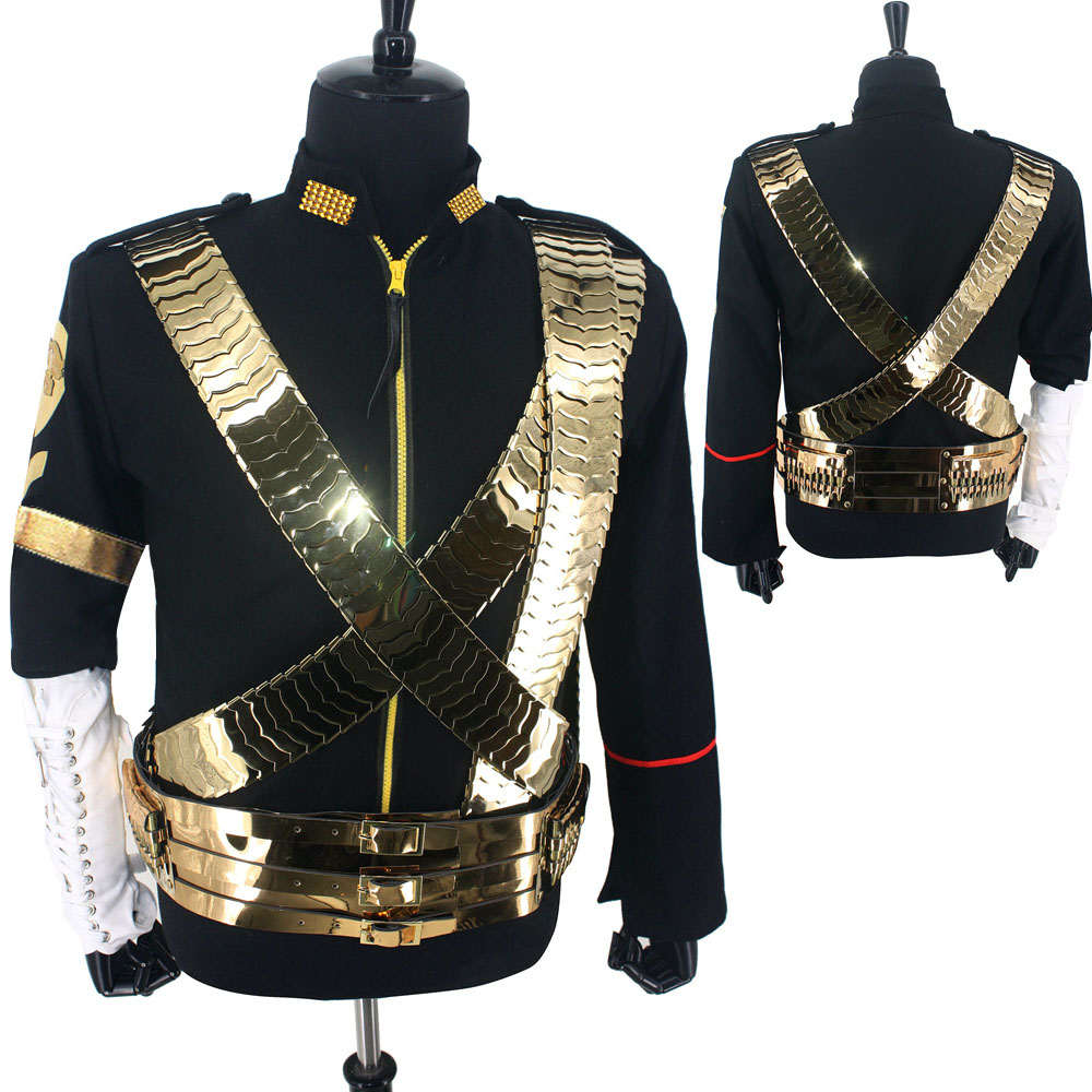 Rare MJ Michael Jackson Classic JAM Jacket & Metal Belt Bullet Punk Exactly Same High Collection Halloween Costume Show