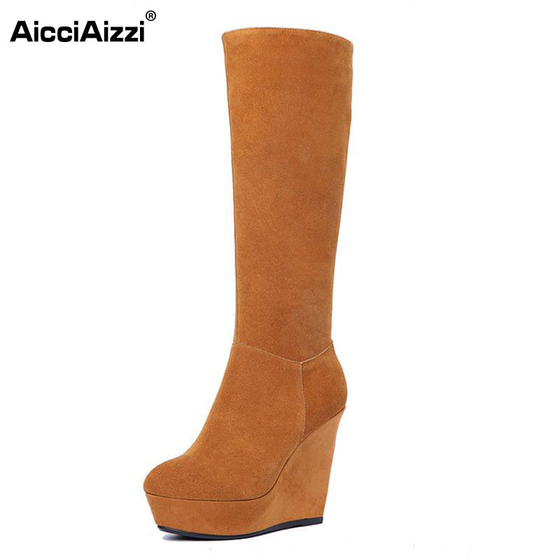 AicciAizzi Women Real Leather Wedges Boots Platform Zipper Knee Boots Warm Fur Shoes Winter Botas For Women Footwears Size 34-39 kemekiss women genuine leather ankle wedges boots zipper warm fur shoes coold winter boots short botas women fotowear size 34 39