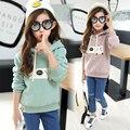Graffiti Carta Meninas Crianças Hoodies & Camisolas de Moda de Nova Cap Moletom Com Capuz Casaco de Bebê Roupas de Menina de Roupas de Lã Crianças