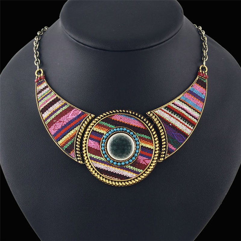 3 Style Round Shaped Colorful Cotton Cloth Resin Bohemian Pendants Necklaces For Women Statement Necklace Female Jewelry