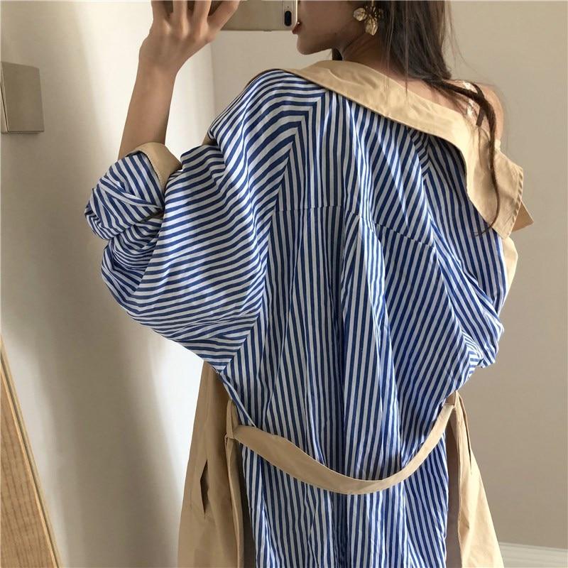 3fe35ab042af Printemps Couleurs D extérieur Streetwear Manteau Automne 2019 Contraste  Patchwork coat Vêtements Mode Femmes Whitney Rayé ...