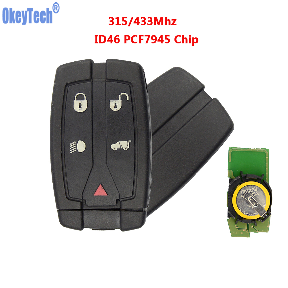 OkeyTech Remote Key 5 Buttons 315/433Mhz ID46 Chip With Insert Blank Blade For Land Rover Freelander 2 LR2 Sport Smart Key Card big discount 1 piece 4 1 button remote key card with 433mhz for land rover freelander 2 2006 2007 2008 2009 2010