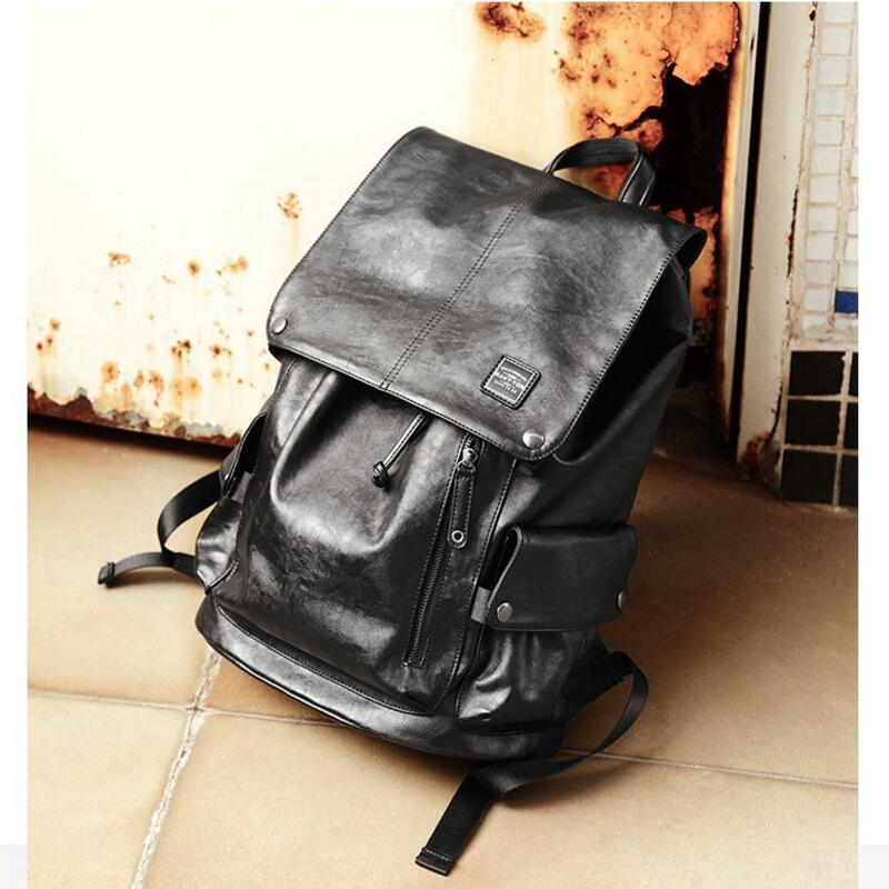 "Brand New Men Backpack Fashion Shoulder Bag Black PU Leather Bag College School Travel Casual Daypacks For 15"" laptop Hot Sale 5"