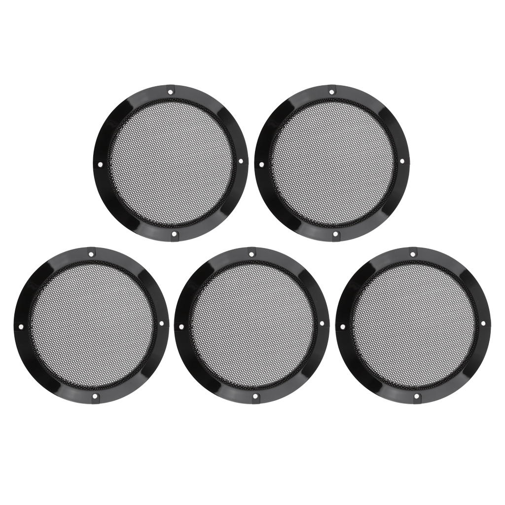 5 Pcs 6.5 inch 165mm Speaker Grills Cover Case with 20 Screws Car Vehicle Interior Accessories Black