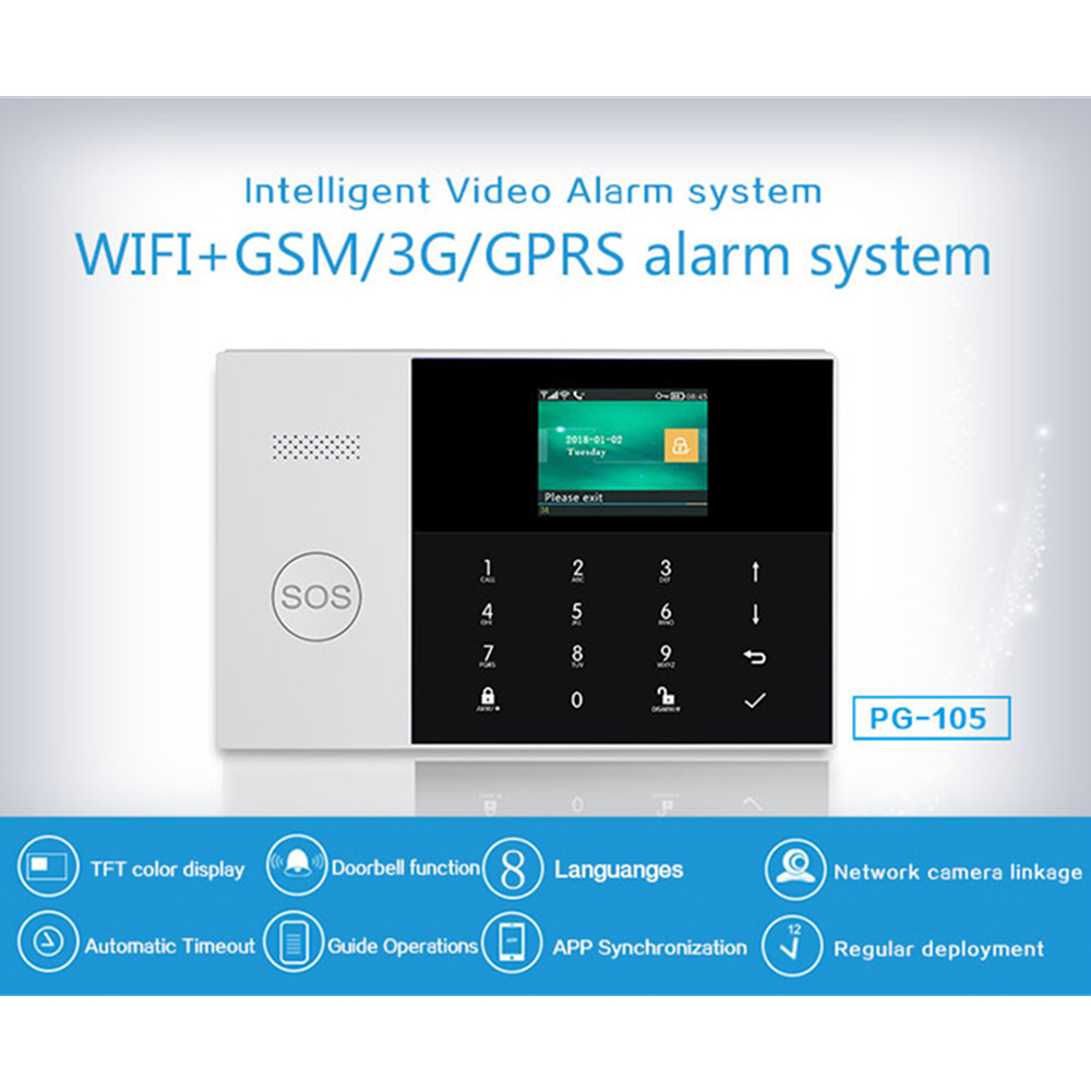 2 4 Inch TFT Screen WIFI GSM SIM SMS RFID Card APP Remote Control Wireless Home Security Alarm System with fire Smoke Detector in Alarm System Kits from Security Protection