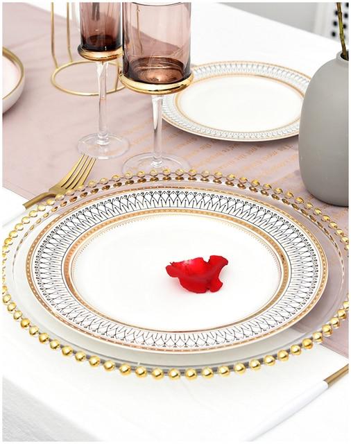 HTB1ppweLhjaK1RjSZKzq6xVwXXaO.jpg 640x640 - dinnerware - Nordic Gold Bead Glass  Wedding Plates