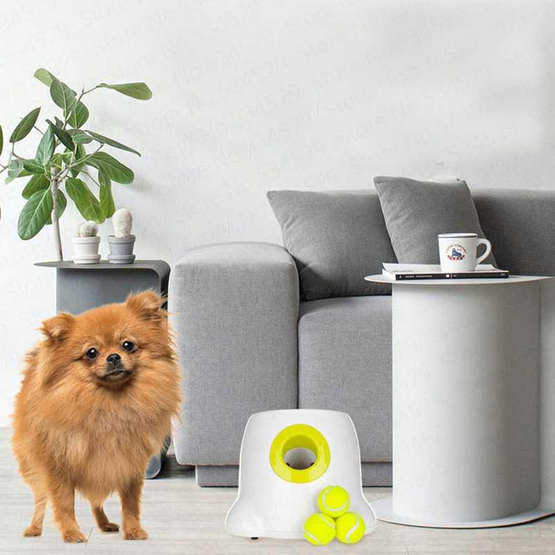 Offre spéciale chien jouets pour animaux de compagnie lanceur de Tennis Machine de lancer automatique Pet balle jeter dispositif Section émission avec 3 balles Us Plug - 6