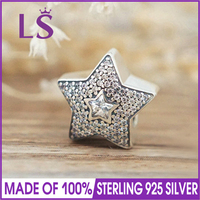 LS High Quality 100% Real 925 Silver Pave Wishing Star Charms Beads Fit Original Bracelets Pulseira Encantos.100% Fine Jewlery W
