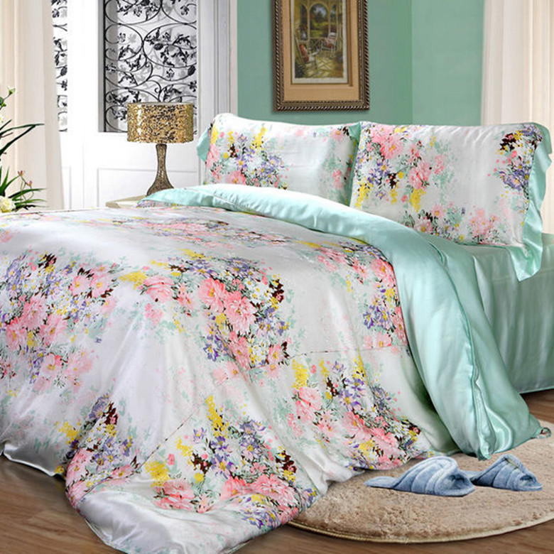 100 Mulberry Silk 16 mm Pinted light blue and 19 mm seamless Solid Color AB Type Flat Sheet Duvet Cover 5 Pieces Set Customize