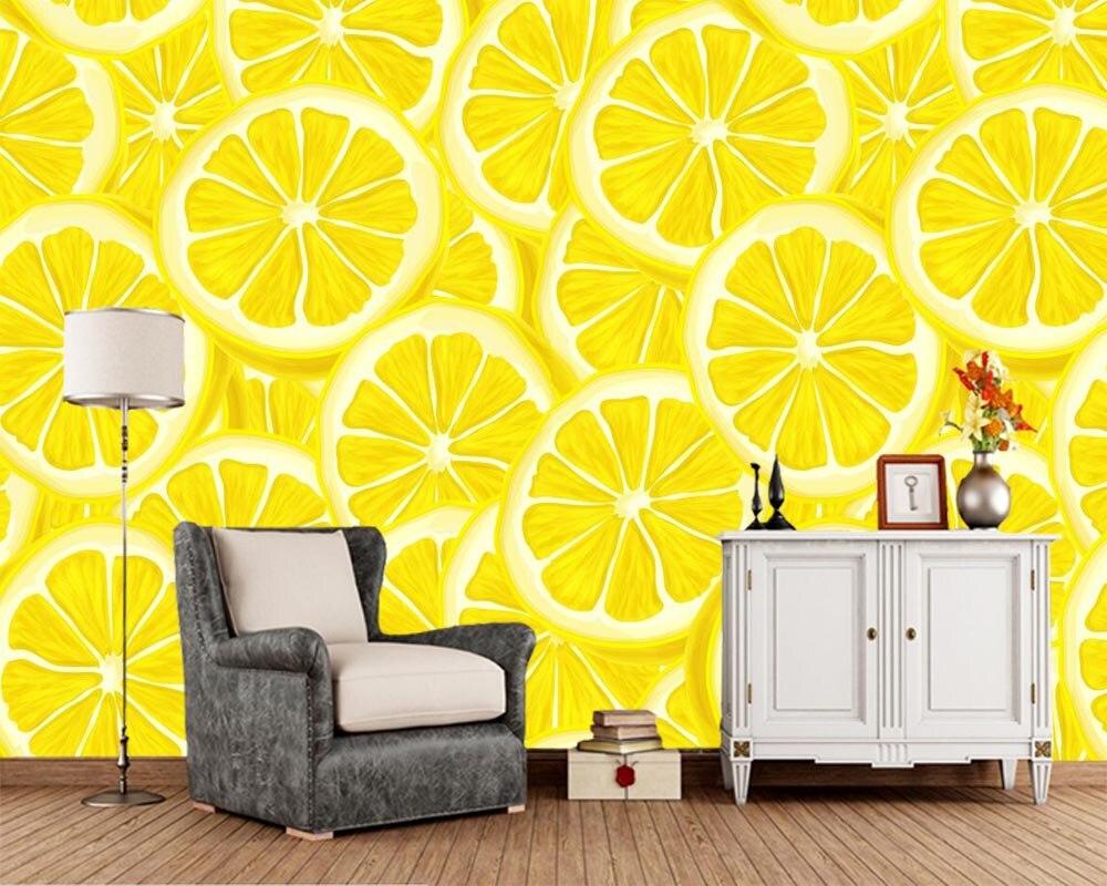 Papel de parede Texture Lemons food wallpaper,living room bedroom kitchen TV background kitchen fast food shop restaurant murals(China)