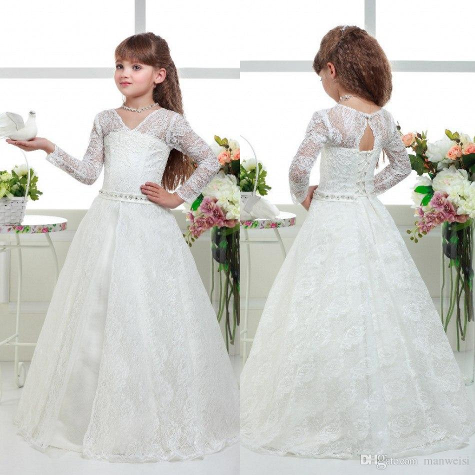 Flower Girl Dresses For Garden Weddings: Long Sleeve Beads Flower Girls' Dresses For Weddings V