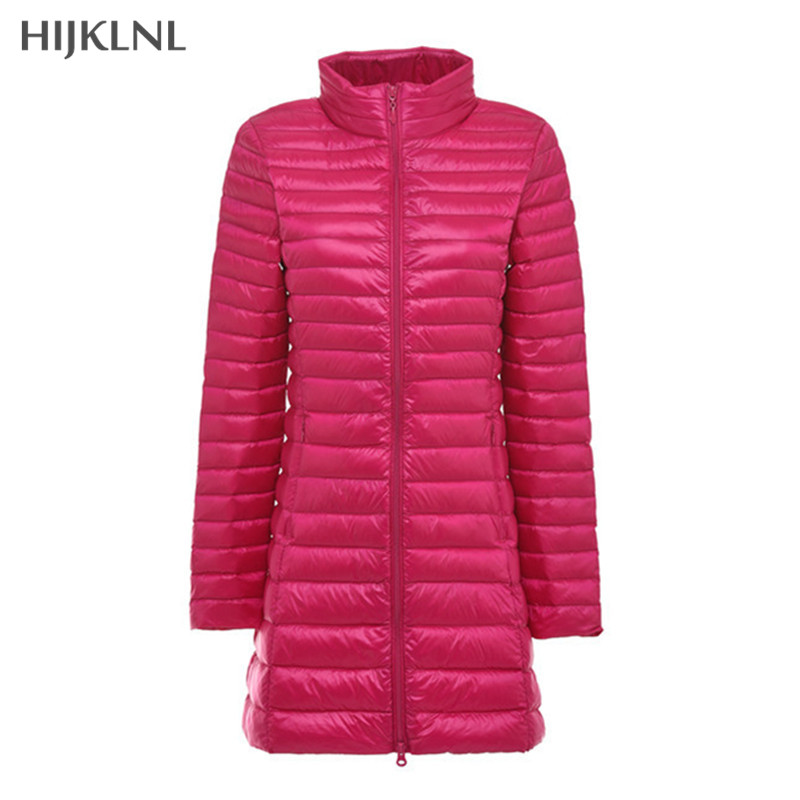 HIJKLNL Ultralight Down Jacket 2019 New Woman Winter Coat With White Duck Down Plus Size Mid-long Coat Women Parkas Mujer LH1106