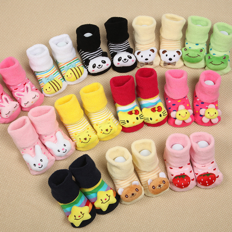 Baby Anti Slip Newborn 0-18Month Cotton Lovely Cute Shoes Animal Cartoon Slippers Boots Boy Girl Unisex Skid Rubber Sole Socks