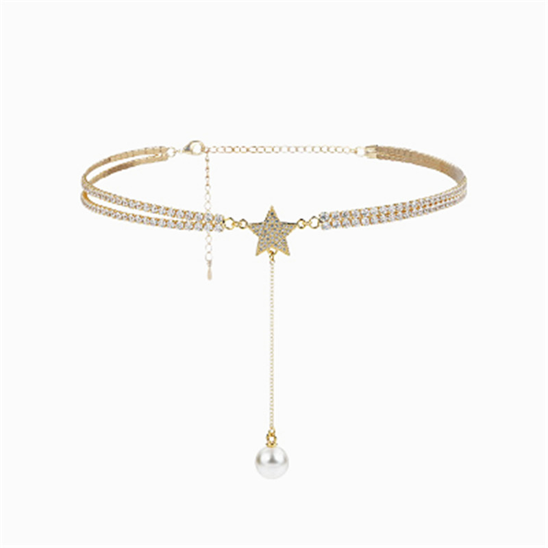 XIAO YOUNG Gold color Rhinestone Choker Necklace Elegant Simulated Pearl Star Tassel Necklaces Pendants Cute Gifts