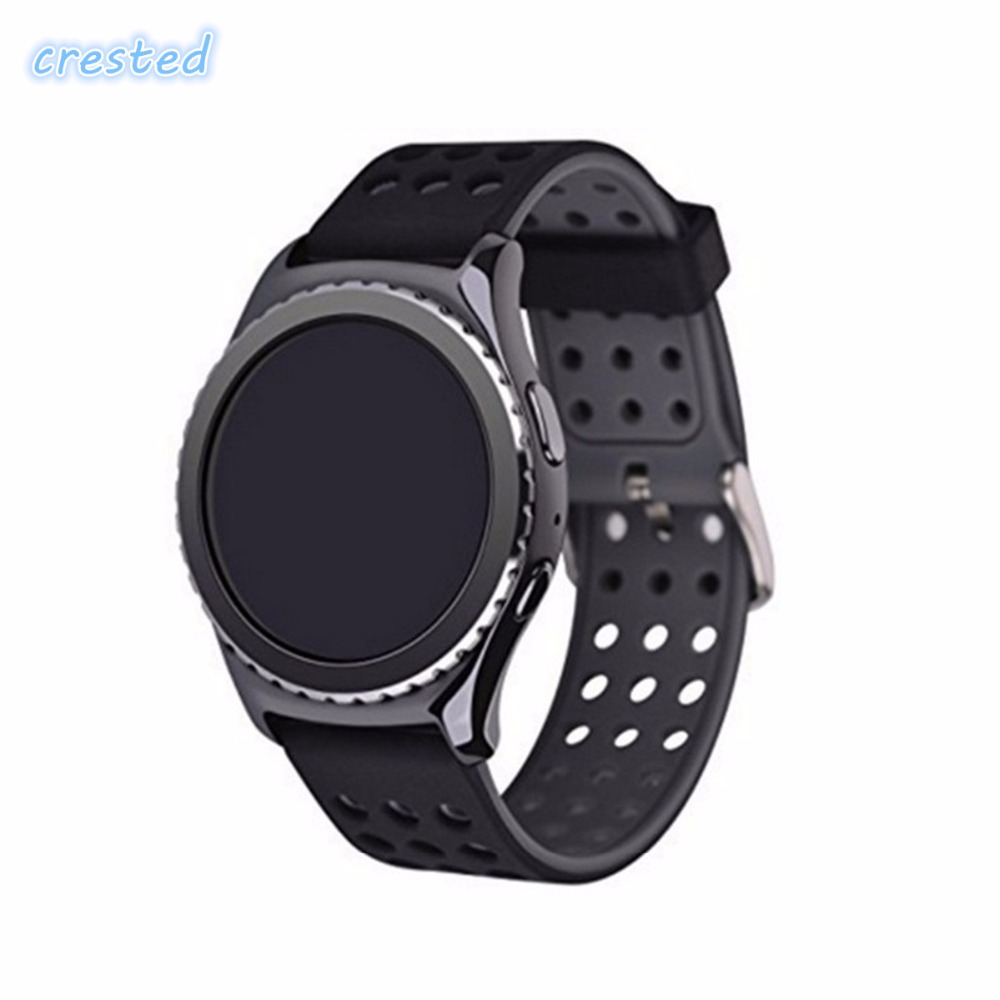 CRESTED 22mm Double color sport silicone watch band strap for Samsung Gear S3 Frontier Classic Watch