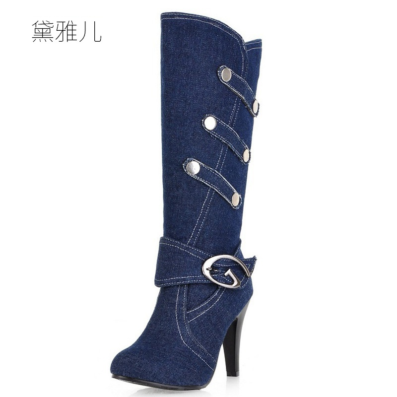 Plus Small Size 32-43 Blue Fashion Leisure Denim 2018 High Heel Boots for Women  Ladies Shoes Woman Girl bleached strentch denim jeans women pencil pants 26 32 plus size high waist skinny hole vintage woman trousers free shipping