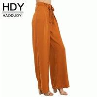 HDY Kobiety Pomarańczowy Wysokiej Talii Spodnie Szyfonowe Szerokie Spodnie Nogi Plus rozmiar Długie Spodnie Luźne Plus Size W Stylu Boho Lato Dorywczo Spodnie