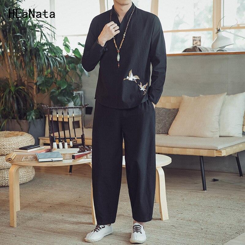 男性トラックスーツセットスポーツウェア 2019 刺繍新メンズコットンヴィンテージブラック長袖 Tシャツ + 原宿ハーレムパンツ 2 個セット  グループ上の メンズ服 からの メンズセット の中 1