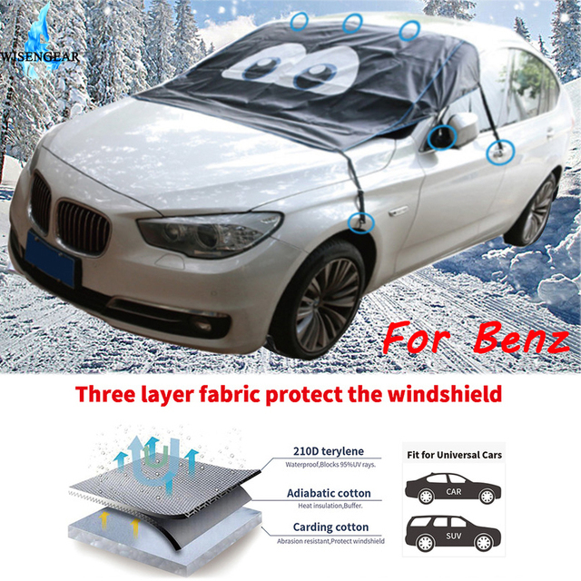 WISENGEAR Car Magnetic Windshield Rain Snow Frost Dust Protective Outdoor Winter Half