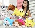 Lindo 1 unid 40 cm Pikachu de la historieta del Doraemon Pokonyan cat mono oso caso de toallas de papel de tejido vehículo regalo juguete de peluche